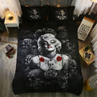Twin Full Queen King Bed Set Pillowcase Quilt Cover lauR Black Rose sszm