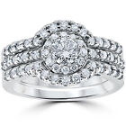 1 1/10ct TDW Round Cut Diamond Trio Engagement Guard Wedding Ring Set White Gold