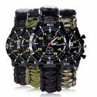 US Outdoor Survival Watch Bracelet Compass Flint Paracord Thermometer Whistle