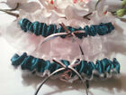 Teal and White Wedding Keepsake Garter or Set - Plus Size Also - Prom Garter