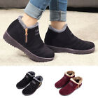 Womens Ladies Suede Plush Ankle Boots Winter Warm Fur Lined Flats Shoes Size