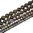 "Natural Dragon Bloodstone Gemstone Round Beads 15.5"" 4mm 6mm 8mm 10mm 12mm"