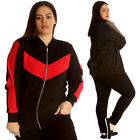 New Womens Bomber Jacket Plus Size Ladies Tracksuit Style Zip Contrast Ribbed