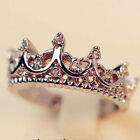 Внешний вид - Fashion Princess Women Rose Gold Silver Rhinestone Crown Ring Size 5 6 7 8 9 New