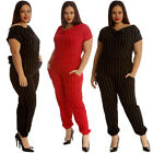 New Ladies Jumpsuit Plus Size Womens Foil Stripe All in One Cowl Neck Pockets