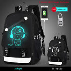 Luminous Anti Theft Backpacks Men USB Charge Canvas Backpack Laptop School Bags