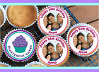 PERSONALISED PHOTO CUPCAKE TOPPER 12 X 4CM WAFER, ICING OR PRECUT WAFER