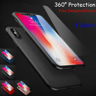 iPhone X 8 7 Plus Full Cover Ultra Thin Hybrid Slim Hard Case + Tempered Glass
