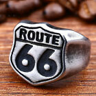 Fashion Mens Jewelry Vintage 316L Stainless Steel Road Route 66 Ring Motor Biker