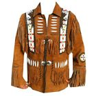 Mens Brown  Western Wear Fringe Suede Leather Jacket  Fringe Cow boy Style Coat