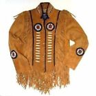 Mens Brown Western Wear Suede Leather Jacket  Cow hide Fringed style  Coat