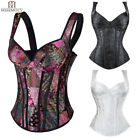 Women Laced Up Boned Brocade Overbust Corsets Bustier Top Waist Training Cincher