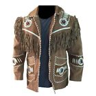 Mens Western Wear Cowboy Style Suede Leather Jacket Handmade Vintage Wear Jacket