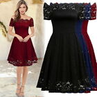 party boats houston - Women Vintage Floral Lace Boat Neck Short Sleeve Bridesmaid Wedding Party Dress