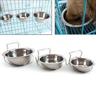 Pet Hanging Bowl Stainless Steel Dog Cat Feeding Food Bird Water Dish Cage Cup