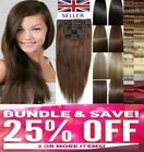 "Real Quality HAIR EXTENSIONS CLIP IN FULL HEAD 22 160G 8 PIECES 18 and 15"" UK"