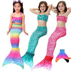 Kids Girls 3Pcs Mermaid Tail Swimmable Swimear Swimming Mono Fin Flippers Party