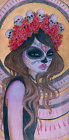 Skull Girl by Vic Hollins Sugar Mask Day of the Dead Tattoo Canvas Art Print