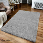 MODERN RUGS SMALL X LARGE THICK 5 cm PLAIN SOFT SILVER GREY SHAGGY RUG NON SHED