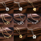 Hot Cute Paw Print Heartbeat Heart Necklace Pendant Jewelry Pet Dog Cat Memorial
