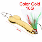 Hot Gold Silver Spoon Fishing Lure 5g-20g with Feather Hooks Metal Bait Tackle