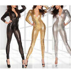 New Hot Black/Gold/Silver Ladies Patent Leather Hollow Conjoined Sexy Jumpsuit