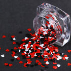 Heart Shape Sequins Nail Stickers Tips Mixed Glitter Paillette Decor Black Red $0.99 USD on eBay