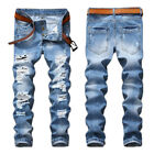 light jeans - Fashion Men's Light Blue Ripped Destroyed Jeans Straight Slim Fit Denim Pants