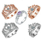 Princess Queen Crown Gold Silver Color Ring Design Wedding Crystal Women Jewelry