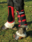 NEW Harlequin Neoprene Horse or Pony Brushing Boots Suede Leather Strike Pad