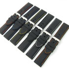 Flexible Silicone Watch Band Black Coloured Contrast Stitching 18mm - 28mm C039
