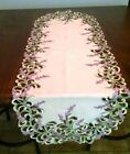 Table Runner, Doily, Mantel Scarf with Lavender Lilac Purple Flowers