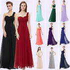 UK Long Formal Evening Dresses One Shoulder Bridesmaid Wedding Prom Gown 09816