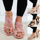 New Womens Mid Wedge Heel Sandals Peep Toe Flower Strappy Holiday Shoes Sizes