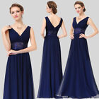 UK Long Prom Lace V Neck Bridesmaid Formal Evening Cocktail Party Dress 08854