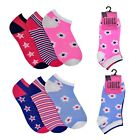 New GIRLS LADIES Floral Stripes Design TRAINER SOCKS One Size Pack Of 3 UK 4-7