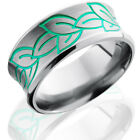 Titanium 10mm Concave Band with Beveled Edges and Leaf Pattern