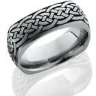 Titanium 8mm Domed EuroSquare Band with Celtic Pattern