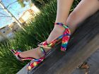 Multi Colored Rainbow Open Toe Dress Chunky Block High Heel Sandals Shoes
