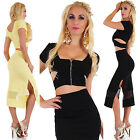 Sexy Women's 2 Piece Business Dress Skirt & Crop Top Stretch Leisure Party Dress