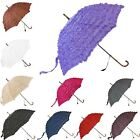 Ladies Women Frilly Manual Open Walking Stick Style Classic Brollies Umbrella