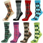 Mens Boys Tartan Mid Calf Ankle Crew Short Checkered Checked Plaid Socks New Lot