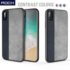 For iPhone X [ROCK] Ultra Thin Slim Shockproof Leather Back Case Soft TPU Cover