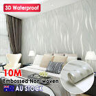 10m Wallpaper Roll Decal Damask Embossed  Non-woven Textured Wall Paper 3d Decor