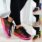 New Womens Lace Up Trainers Shaded Flat Gym Running Comfy Ladies Shoes Sizes
