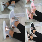 New Womens Slip On Trainers Flat Gym Lace Up Comfy Lightweight Ladies Shoes