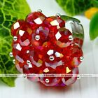1PC Multi Faceted Crystal Glass Bead Flower Cocktail Finger Ring Jewelry Gift 1