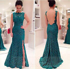 Womens Sexy Sleeveless Hollow Lace Evening Party Formal Cocktail Long Maxi Dress