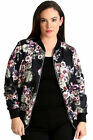 New Womens Plus Size Bomber Jacket Ladies Floral Print Rib Jungle Style Quality