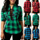 UK Women Lace Up Plaid Checked Tee T-Shirt Ladies Casual Shirts Tops Blouse Size